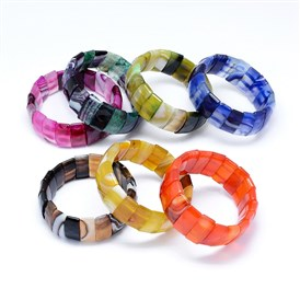 Natural Agate Stretch Bracelets, Dyed, Faceted, Rectangle