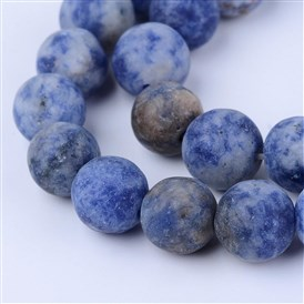 Natural Blue Spot Jasper Beads Strands, Frosted, Round