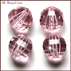 Pink Imitation Austrian Crystal Beads, Grade AAA, Faceted, Round, Pink, 10mm, Hole: 0.9~1mm