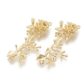 Brass Links, Rhinestone  Settings, Flower