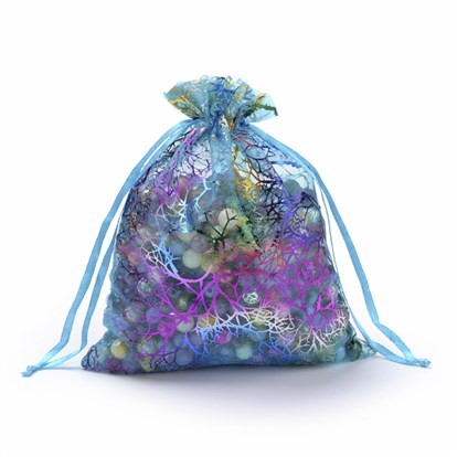Organza Gift Bags, Drawstring Bags, with Colorful Coral Pattern, Rectangle
