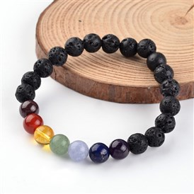 Chakra Natural Lava Beaded Stretch Bracelets, with Gemstone Beads, 55mm