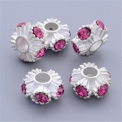 Alloy Rhinestone European Beads, Grade A, Flower, Lead Free and Cadmium Free, Silver Color, 15x8.5mm, Hole: 5mm-1