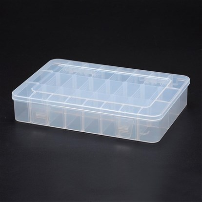 Polypropylene Plastic Bead Storage Containers, Removable, 24 Compartments, Rectangle-1
