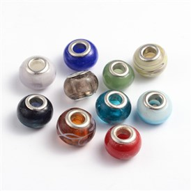 Handmade Lampwork European Beads, Large Hole Beads, with Double Silver Color Brass Cores, Rondelle, Mixed Color, 13~17x10mm, Hole: 5mm