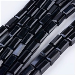 "Black Opaque Glass Beads Strands, Faceted, Cuboid, Black, 6.5~7x3~3.5x3~3.5mm, Hole: 0.5mm; about 80pcs/strand, 20.6~22""(52.5~56cm)"