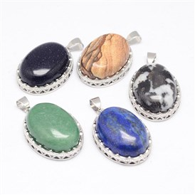 Gemstone Pendants, with Brass Findings, Oval, Platinum