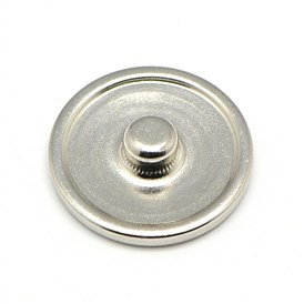 Brass Snap Button Cabochon Settings, Stud Findings, Flat Round, Lead Free & Nickel Free & Cadmium Free