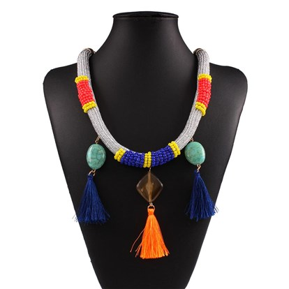 "Nylon Cord Tassel Bib Necklaces, with 18K Gold Alloy Chains, Resin and Plastic Glass Nylon Tassel Pendant Decorations, 29.13""-1"