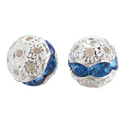 Light Sapphire Brass Rhinestone Beads, Grade A, Silver Metal Color, Round, Light Sapphire, 8mm, Hole: 1mm; 20pcs/box