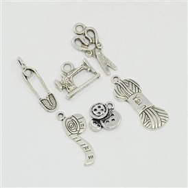 Sewing Knitting Metal Charms Tibetan Style Alloy Pendants, Scissor, Pipe, Safety Pin, Yarn Clew, Button, Sewing Machine Charms, for DIY Jewelry Making and Crafting, 15~31x6.5~18x1.5~3mm, Hole: 1.5~3mm; 6pcs/set