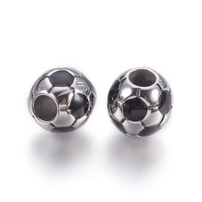 304 Stainless Steel Enamel European Beads, Large Hole Beads, Football-1