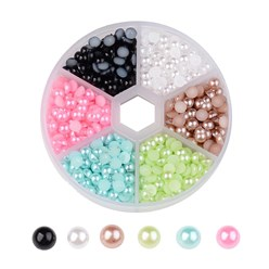 Mixed Color 1 Box Half Round Domed Imitation Pearl ABS Acrylic Cabochons, Mixed Color, 5x2.5mm