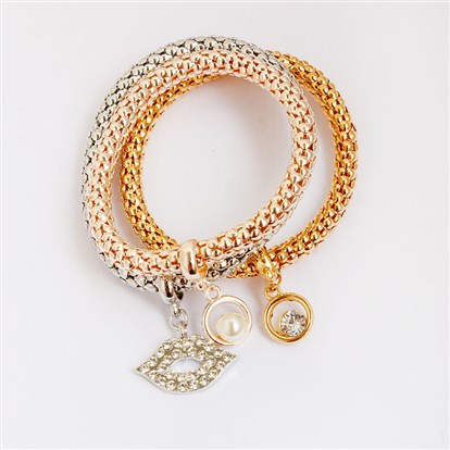 Alloy Stretch Charm Bracelets, Popcorn Chain, with Rhinestone and Imitation Pearl, Lip & Ring-1