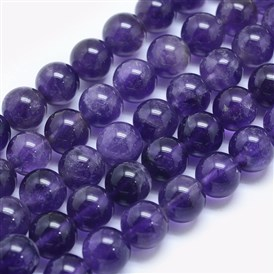 Natural Amethyst Beads Strands, Round