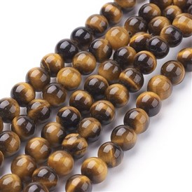 Natural Tiger Eye Beads Strands, Grade A, Dyed, Round Goldenrod