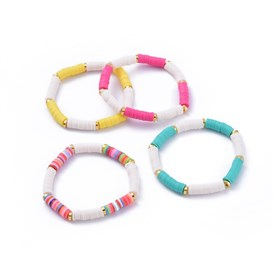 Handmade Polymer Clay Heishi Beads Stretch Bracelets, with Alloy Spacer Beads
