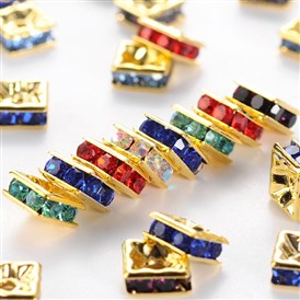 Brass Rhinestone Spacer Beads, Grade A, Golden Metal Color, Square, 6x6x3mm, Hole: 1mm