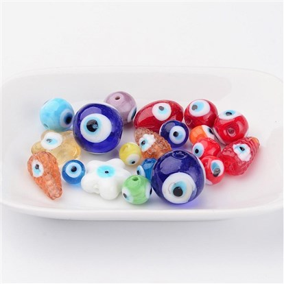 Handmade Evil Eye Lampwork  Beads, Mixed Shape, 6~28x6~28x3~16mm, Hole: 1~2mm-1