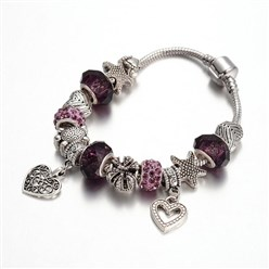 Indigo Alloy Rhinestone Bead European Bracelets, with Glass Beads and Brass Chain, Indigo, 190mm