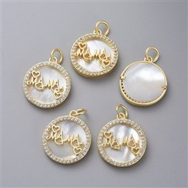 "Brass Micro Pave Cubic Zirconia Pendants, with Shell and Jump Rings, Flat Round with Word ""MAMA"", For Mother's Day"