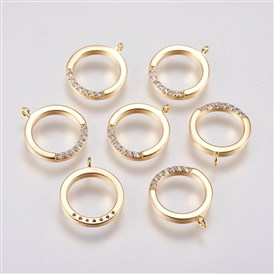 Brass Micro Pave Cubic Zirconia Charms, Open Flat Round