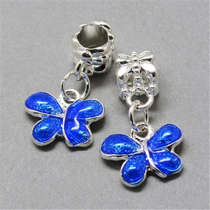 Alloy Enamel European Dangle Beads, Large Hole Beads, Butterfly-1