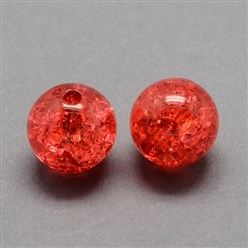 Red Transparent Crackle Acrylic Beads, Round, Red, 8mm, Hole: 2mm; about 1890pcs/500g