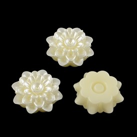 Flower ABS Plastic Imitation Pearl Rhinestone Settings, 19x8mm; Fit for 3mm Rhinestone; about 200pcs/bag