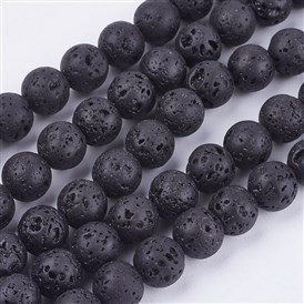 Natural Lava Stone Beads Strands, Round