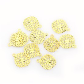 Flat Round Iron Flower Filigree Findings Charms Pendants, 15x13x0.5mm, Hole: 1mm