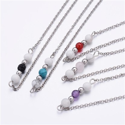 Gemstone Bead Pendant Necklaces, with 316 Stainless Steel Cross Chain-1