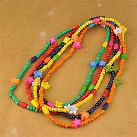 Wood Necklaces for Kids, Children's Day Gifts, with Colorful Star Beads, Stretchy, 22.5 inches