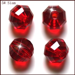 DarkRed Imitation Austrian Crystal Beads, Grade AAA, Faceted, Round, DarkRed, 10mm, Hole: 0.9~1mm