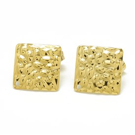 304 Stainless Steel Stud Earring Findings, with Loop and Ear Nuts/Earring Backs, Square