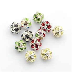 Brass Rhinestone Beads, with Iron Single Core, Grade A, Silver Metal Color, Round, 8mm in diameter, Hole: 1mm
