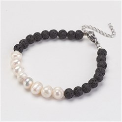 "Black Natural Lava Beads Bracelets, with Freshwater Pearl Beads and Brass Lobster Claw Clasps, Black, 7-1/4""(185mm)"
