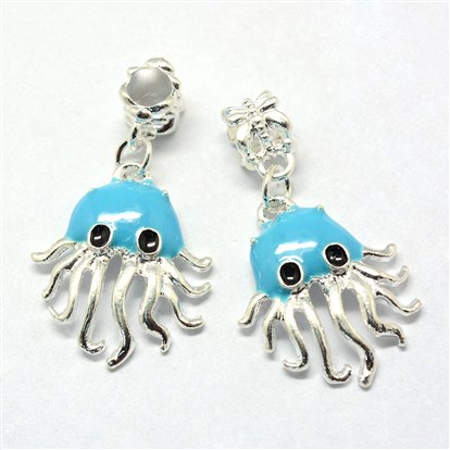 Alloy Enamel European Dangle Beads, Large Hole Beads, Octopus, Silver-1