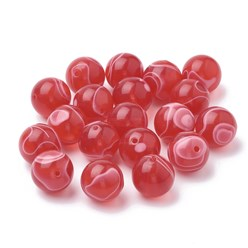 Red Cellulose Acetate(Resin) Beads, Round, Red, 14mm, Hole: 2mm