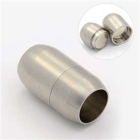Frosted 304 Stainless Steel Magnetic Clasps, Barrel