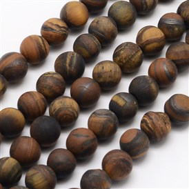Natural Tiger Eye Beads Strands, Frosted, Round