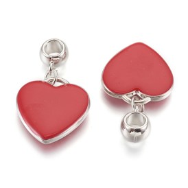 CCB Plastic Pendants, with Enamel, Heart, DarkRed