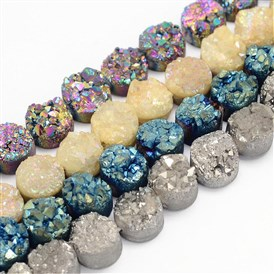 Electroplated Natural Druzy Quartz Crystal Bead Strands, Flat Round, Dyed