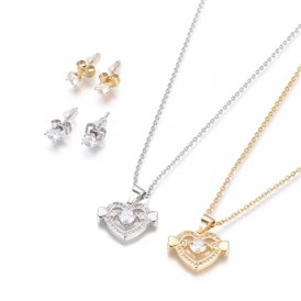 304 Stainless Steel Jewelry Sets, Brass Micro Pave Cubic Zirconia Pendant Necklaces and 304 Stainless Stud Earrings, with Plastic Ear Nuts/Earring Back, Heart