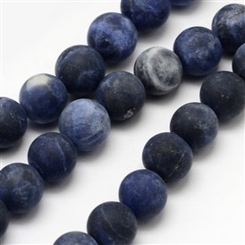 Natural Sodalite Beads Strands, Frosted, Round