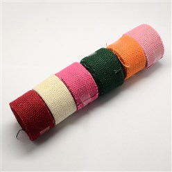 Mixed Color Natral Burlap Ribbons, Jute Ribbons for Craft Making, Mixed Color, about 32mm wide, 2.7m/roll, 42rolls/bag