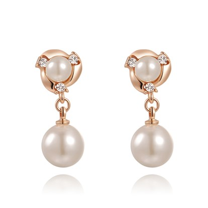 Real Rose Gold Plated Fashion Alloy Austrian Crystals Dangle Earrings, Clip-on Earrings, with Acrylic Beads, 26x11mm