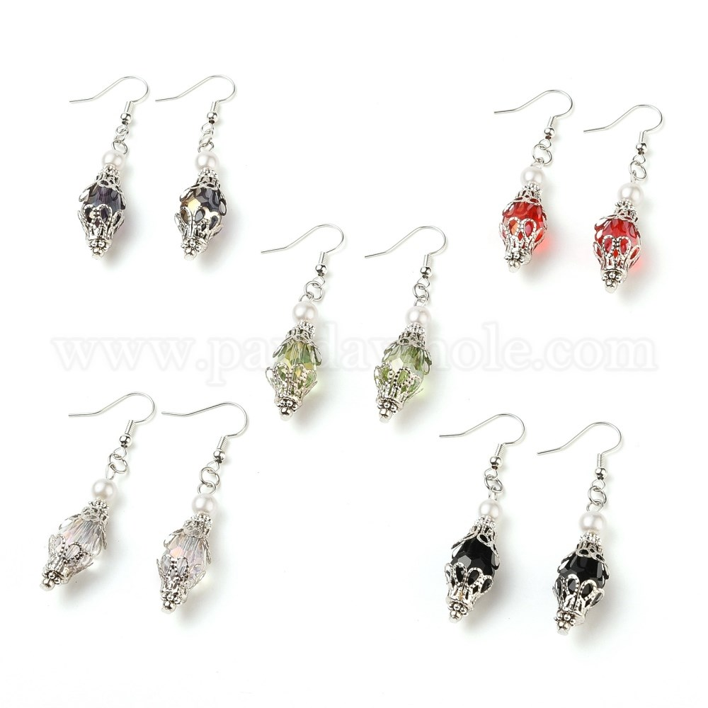 EVIL EYE Silver Plated And Enameled Charm Faceted Glass Beads Double Sided Silver Plated Dangle Earrings
