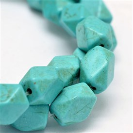 Synthesis Turquoise Cuboid Bead Strands, Cuboid, Faceted, 12x8x8mm, Hole: 1mm; about 32pcs/strand, 15.7""
