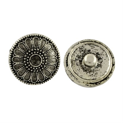 Brass Snap Buttons, with Flower Alloy Rhinestone Setting Findings, Tibetan Style, Lead Free, Tray: 4x2mm; 21x8mm, Fit for 4mm rhinestone-1